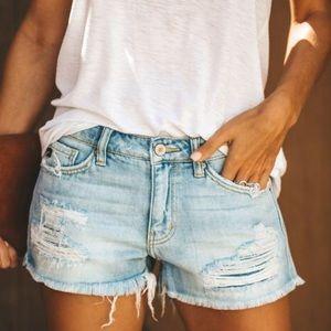 KanCan Distressed Light Wash Cut Off Denim Shorts